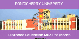 Pondicherry University Distance Education MBA