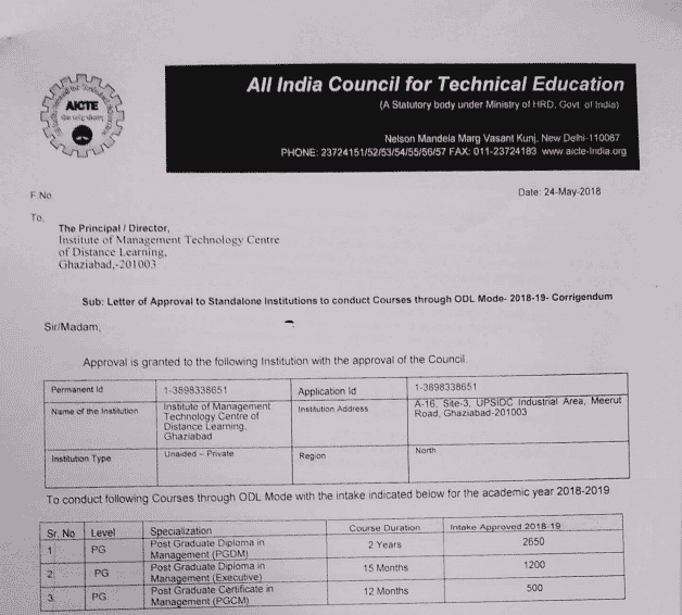 IMT Distance Learning AICTE Approval Doc